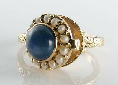 Unusual 9K 9Ct Gold Vintage Art Deco Ins Sapphire & Pearl Poison Locket Ring