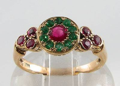 Unusual Combo Gold 9Ct 9K Indian Ruby Emerald Art Deco Ins Ring Free Resize