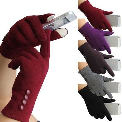 Winter Gloves Warm Thick Fleece Lined Thermal Button Touch Screen Women Ladies E
