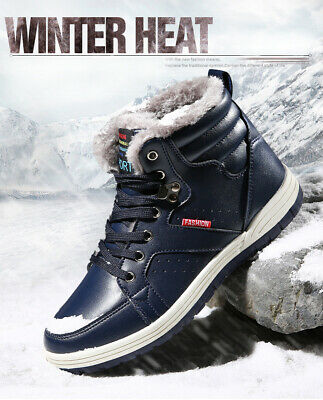 Winter Mens Warm Plush Snow Boots Waterproof Leather Ankle Outdoor Work Shoes