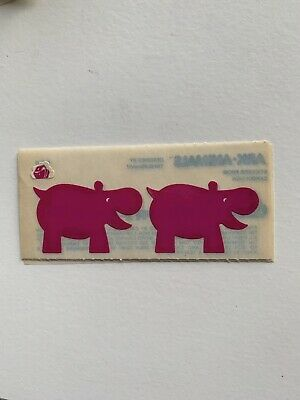 Rare Vintage Stickers - Cardesign - Ark Animal, Hippo 1983