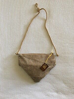 Vintage Retro 1980s Triangle Glomesh Slouch Hand Bag. Brown Speckled In Colour