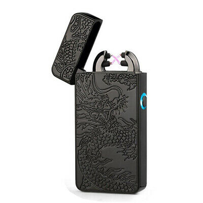 Black USB Rechargeable Windproof Double Arc Flameless Cigarette Lighter Electric