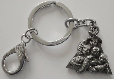 Keyring #17 Pewter SKULLS Snake skeleton sculls in triangle (30mm) Keychain Key