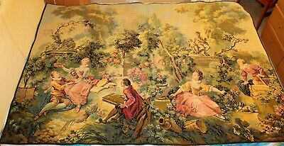 Large French tapestry in jacquard cotton. Possible Fragonard scene. Circa 1930