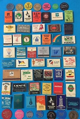 Lot Of 50 Old Collectable Advertising Matches & 14 Drink Tokens
