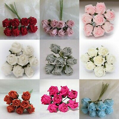 Loose of 8 Colourfast fake Wedding Flowers Bouquet SMALL 3CM FOAM ROSES