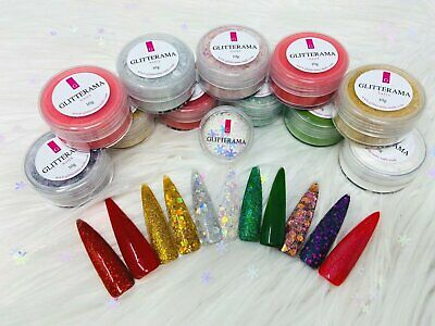 Coloured acrylic powder Glitterama christmas collection glitter red green gold