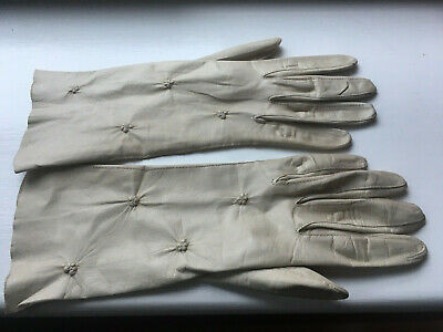 Vintage Fine Cream Leather Mid Length Gloves with Stitched Floral Detail - Small