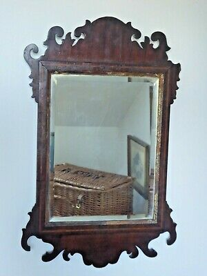 Antique Mahogany Bevelled Fret Mirror