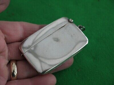Unusual Antique Hm 1919 Solid Sterling Silver Cigarette Match Safe Vesta Case
