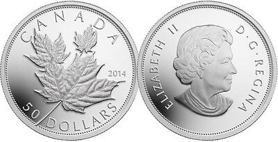 2014 5oz Proof $50 Maple Leaves-High Relief .9999 Fine Silver Coin (13842)