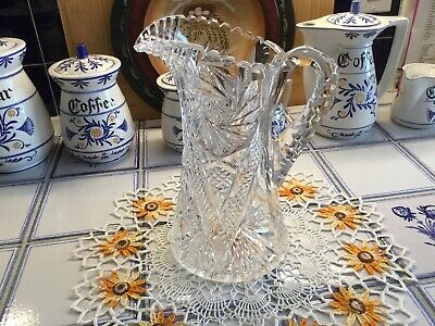Antique Medium Size Hand Cut ABP Ornate Crystal Water Pitcher