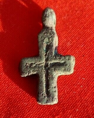Ancient Viking bronze little cross Kyiv Rus 11-13 AD VERY RARE!
