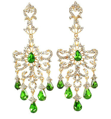 Huge Victorian Austrian Crystal Rhinestone Drop Chandelier Earrings E2097G Green