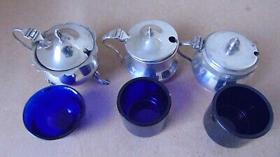 Nice 3 Antique Sterling Silver Mustard Pots & Glass Liners