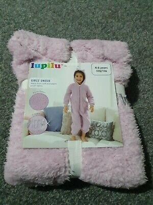 Lupilu Girls age 4 5 6 Fluffy All In One Cat Pyjamas Christmas kids hood ears