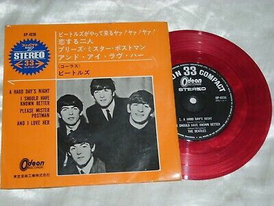 """The Beatles - A Hard Day's Night/And I Love Her.1965 Japan 7"""" RED EP. OP4036. EX"""