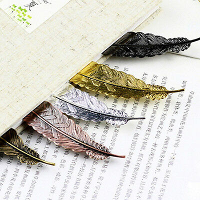 Gun Black Feather Shaped Plated Metal Book Markers Bookmarks Gift For Readers SI