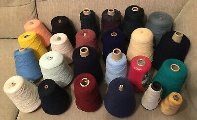 Job Lot Of 24 Cones Of Various Colours & Types Knitting Machine Wool