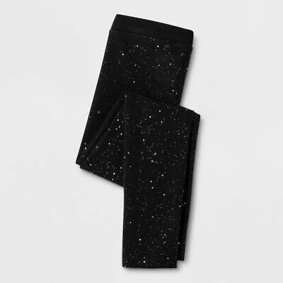 New Cat & Jack Girls Glitter Black Fleece Leggings S 6 6X M 7 8 L 10 12 XL 14 16