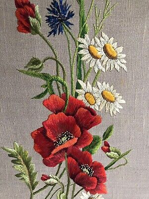 Vintage Hand Stitched WallPanel Embroidery Flower Daisy Poppy Cornflower Picture