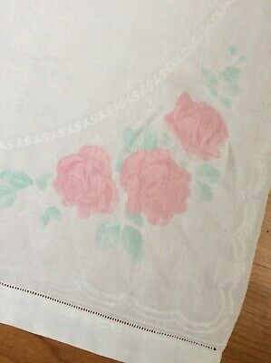 ☘️Antique old bleach hand painted large huckaback towel ☘️
