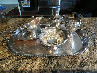 """VINTAGE CRESCENT SILVER CO. LOT OF 6, 23"""" x 13 1/2"""" TRAY, CREAMER & DISH & MORE"""