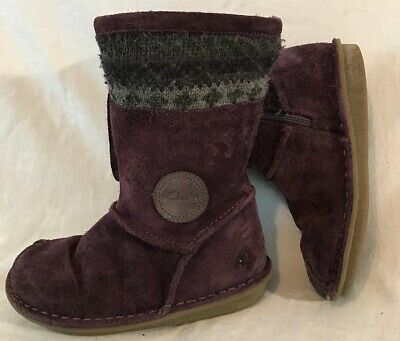 Girls Clarks Purple Suede Lovely Boots Size 11.5G (520vv)