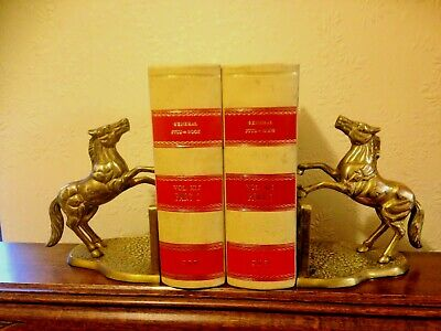 Vintage Pair Of Heavy  Solid Brass Horse Jumping Gate Bookends Or Ornaments