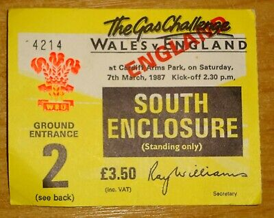 Wales v England Rugby Ticket - Cardiff Arms Park - 7th March 1987