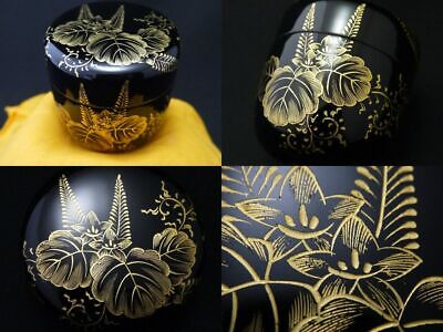Japanese Lacquer Wooden Tea caddy BALLOON FLOWER design in Chinkin Natsume 1108