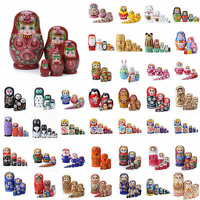 42 Style Wooden Nesting Dolls Matryoshka Wooden Russian Painted Doll Toys AU