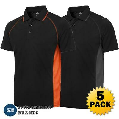 5 x Mens Cover Polo Shirt Work Business Team Quick Dry Top Sports Easy Care 7COV