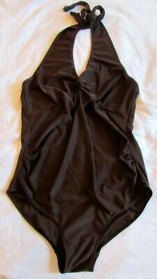 Size 12 Maternity Swimsuit Swimming Costume Mothercare Brown Halterneck