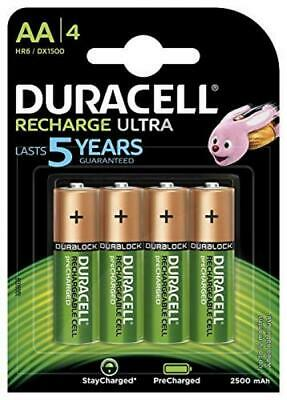 Duracell Recharge Ultra Piles Rechargeables type AA 2500 mAh, Lot de 4