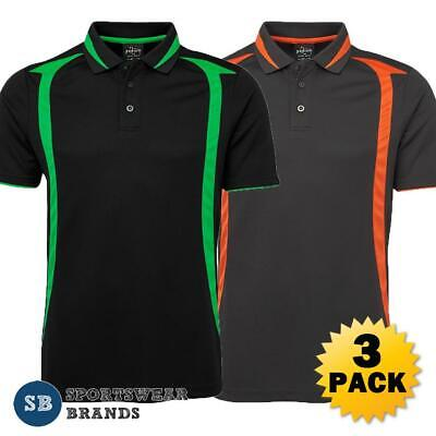 3 x Mens Swirl Polo Shirt Top Work Sports Contrast Breathable Tradie Cool 7SWP
