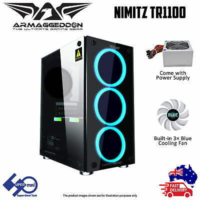 PC Gaming Case Tempered glass with 235FX PSU & 3x Blue LED Fan Micro-ATX Tower