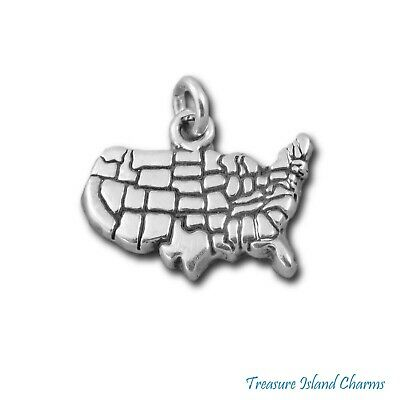 United States of America sterling silver charm .925 x 1 USA charms DKC53073