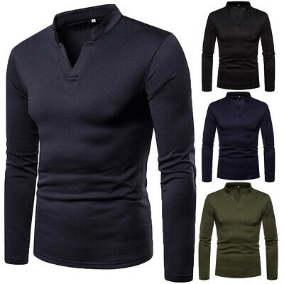 Mens Thermal Underwear Pullover Long Sleeve Vest Top Warm Winter T-Shirt Blouse