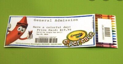 Tickets to Crayola Experience Admission Easton PA - No Exp Date - 6 Available