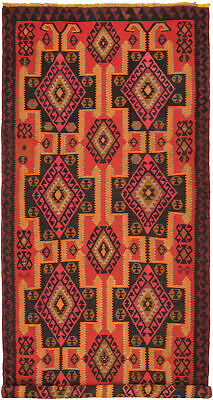 "Hand woven Turkish 5'10"" x 13'9"" Konya Wool Kilim...DISCOUNTED!"