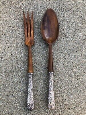 S. Kirk & Son Repousse sterling silver handle wood serving spoon & fork flatware