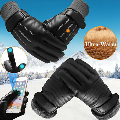 Leather Gloves Full Finger Mens Motorcycle Driving Winter Warm Touch Screen KY