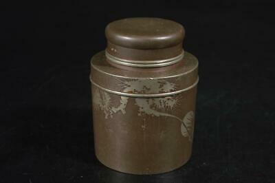 U9991: Japanese XF Old Tin Pine sculpture TEA CADDY Chaire Container, auto