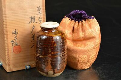 A984: Japanese Seto-ware Brown glaze TEA CADDY Chaire Container w/signed box