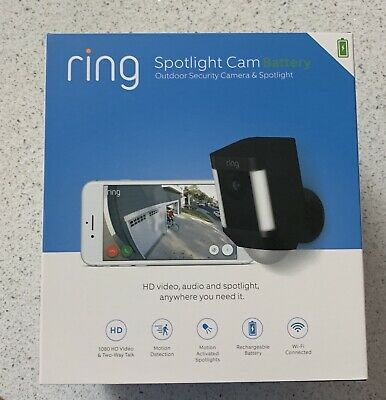 Ring Spotlight Cam Battery Black Outdoor Security Camera - NEW Factory Sealed