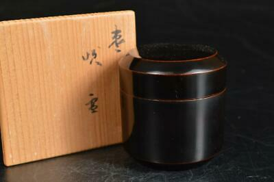 A974: Japanese Wooden Lacquer ware TEA CADDY Natsume Tea Ceremony