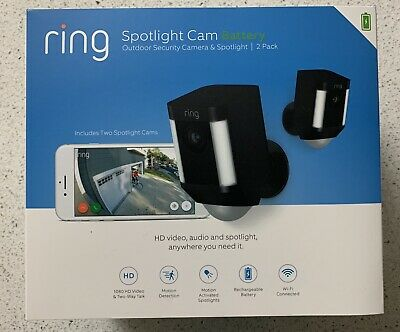 Ring Spotlight Cam Battery Black Security Camera 2 Pack BRAND NEW Factory Sealed