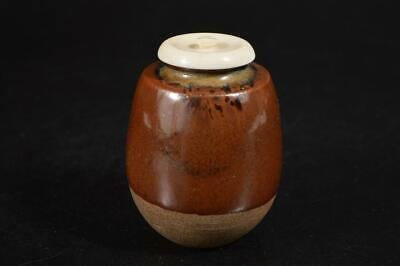 A80: Japanese Old Tamba-ware Brown glaze TEA CADDY Chaire Container